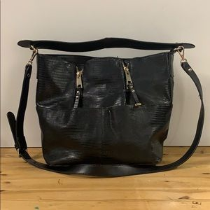 Zara Basic Collection leather and faux lizard  bag